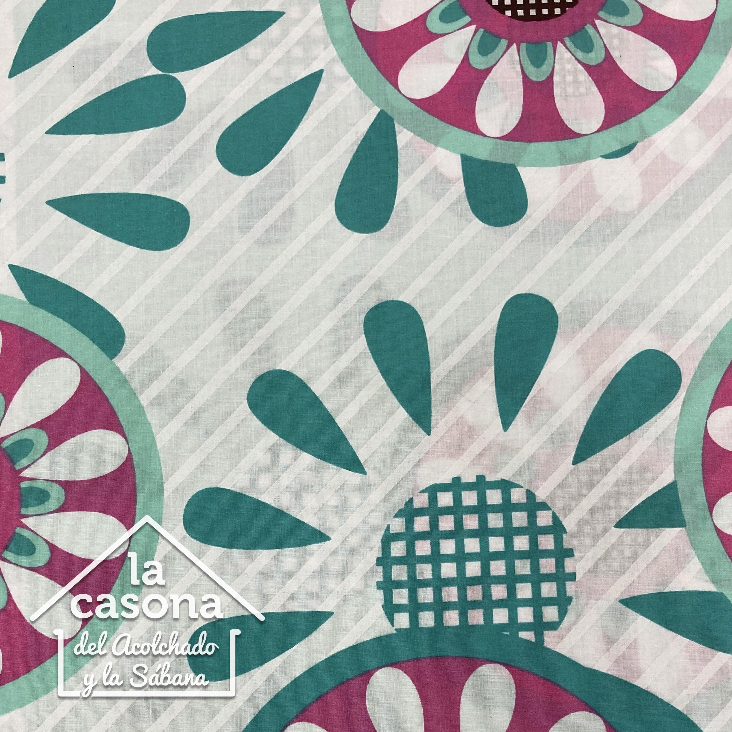 enfoque sabana de flores en tonos verdes y rosados algodón 200 hilos