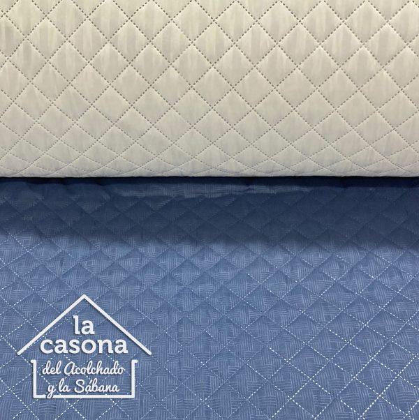 enfoque tela acolchada doble faz azul y beige