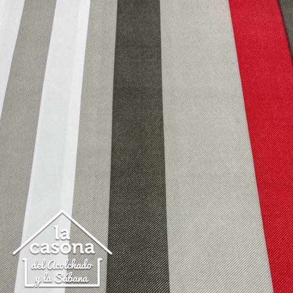 enfoque tela polialgodón con diseño lineal en colores tierra y rojo