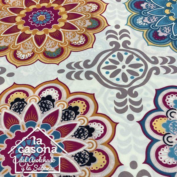enfoque tela polialgodón con diseños combinado de mandalas en colores cálidos y fríos