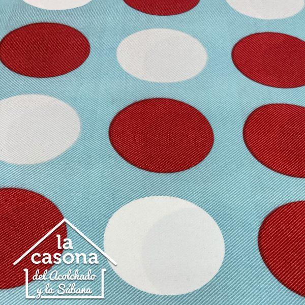 enfoque tela polialgodón con diseños de circulos en blanco y rojo con fondo azul