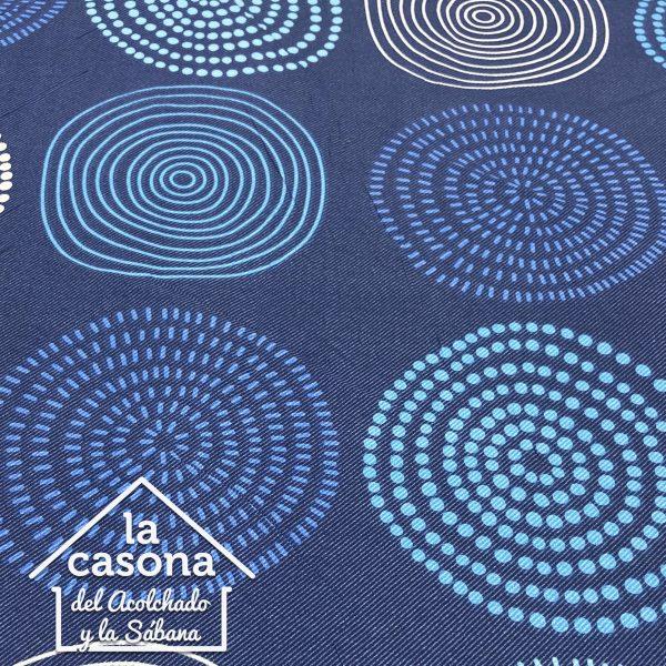 enfoque tela polialgodón con diseños de circulos en diferentes formas