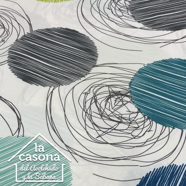 enfoque tela polialgodón con diseños de circulos rayados en tonos fríos