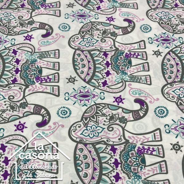 enfoque tela polialgodón con diseños de elefantes con mandalas