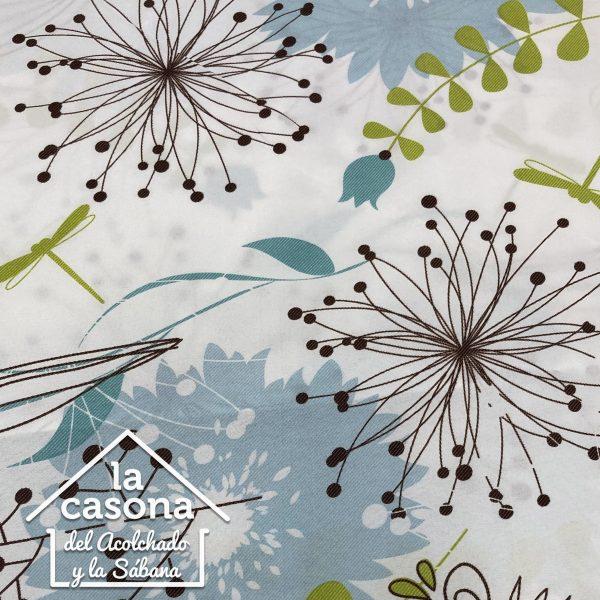 enfoque tela polialgodón con diseños de flores en color cafe y azul cielo con toques verdes