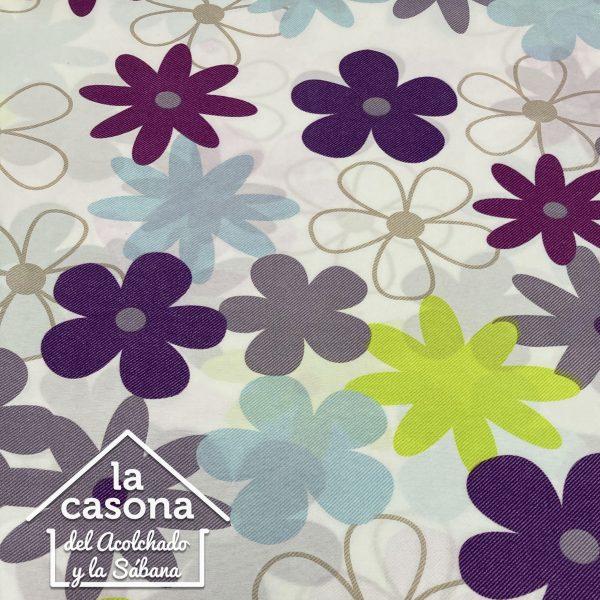 enfoque tela polialgodón con diseños de flores en tonos frios