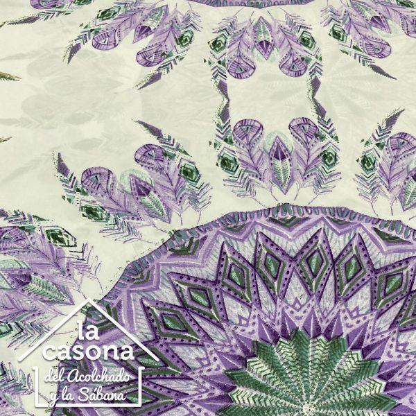 enfoque tela polialgodón con diseños de mandalas en color morado y verde