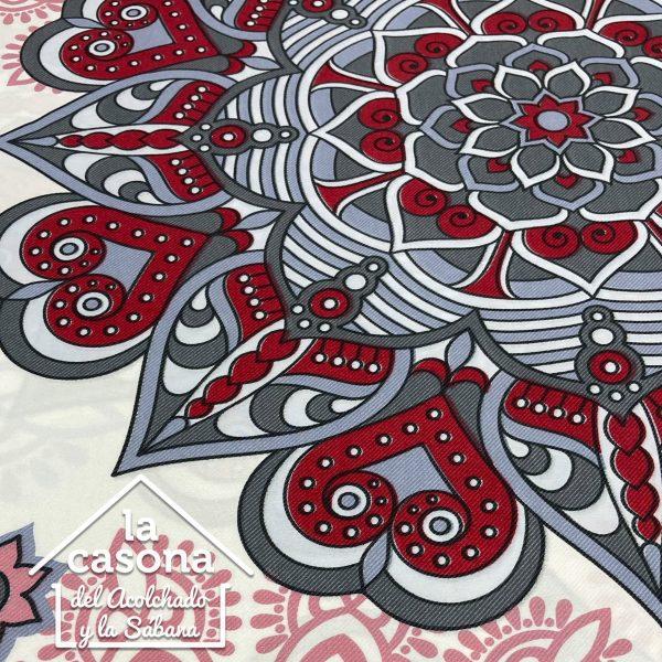 enfoque tela polialgodón con diseños de mandalas en color rojo y gris