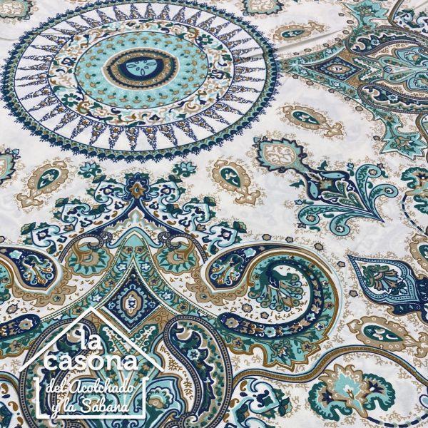 enfoque tela polialgodón con diseños de mandalas en tonos dorados y agua marina