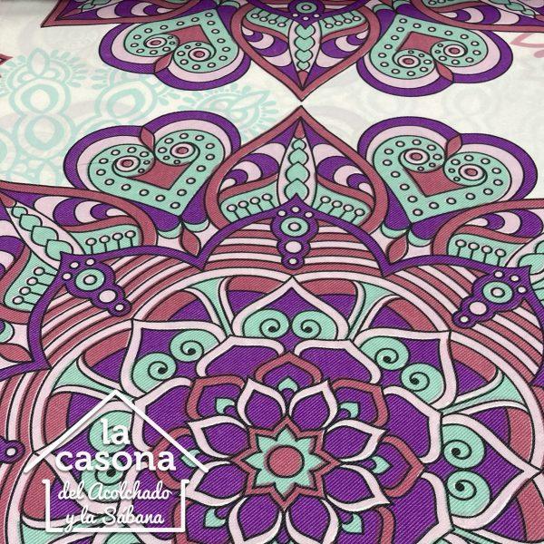 enfoque tela polialgodón con diseños de mandalas en tonos rosa
