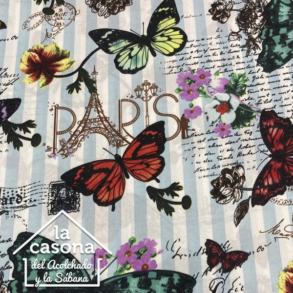 enfoque tela polialgodón con diseños de mariposas en paris en diferentes colores