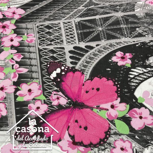 enfoque tela polialgodón con diseños de paris en blanco y negro con detalles rosados