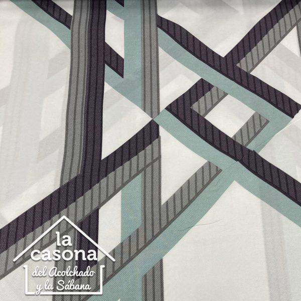 enfoque tela polialgodón con diseños de rayas en azul, gris y negro