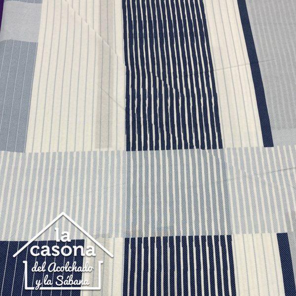 enfoque tela polialgodón con diseños de rayas horizontales y verticales en azul