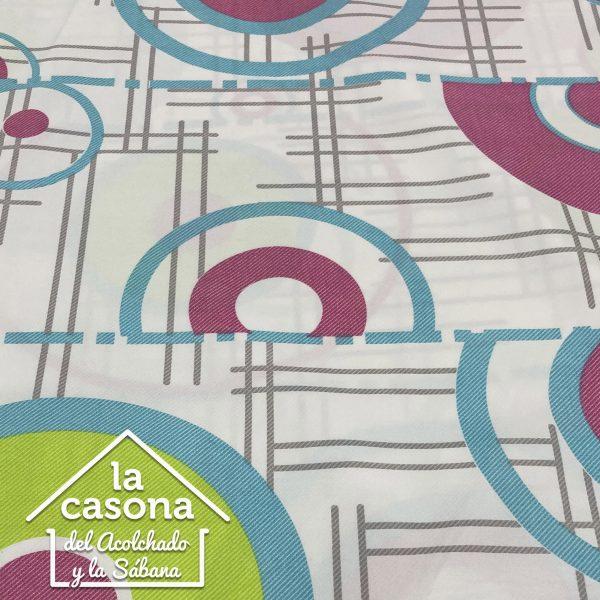 enfoque tela polialgodón con diseños de semicirculos en azul y rosado con verde
