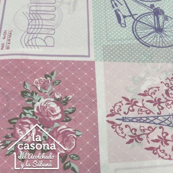 enfoque tela polialgodón con diseños vintage de paris