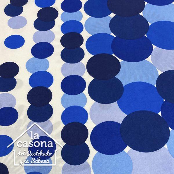 enfoque tela polialgodon con diseño circular en diferentes tonalidades de azul