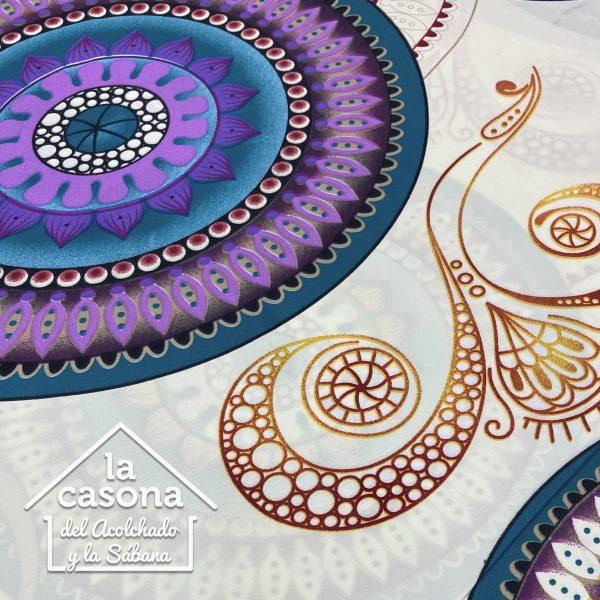 enfoque tela polialgodon con diseño de mandalas en tonos frios