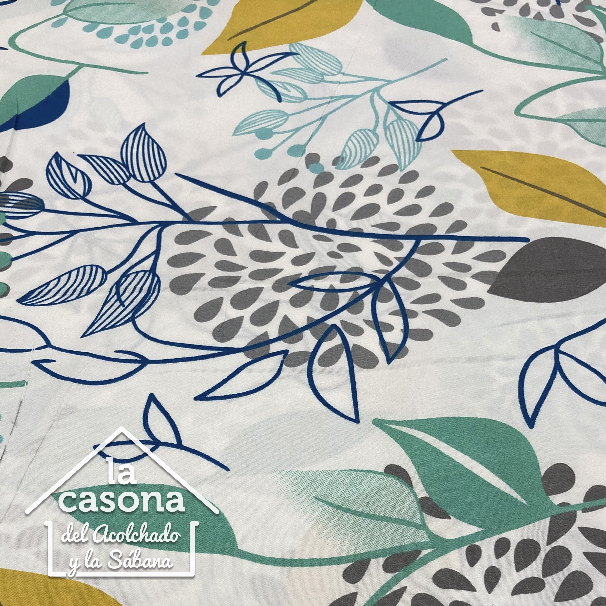enfoque tela polialgodon con diseño natural en tonalidades frias