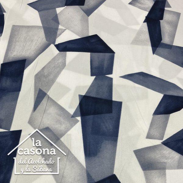 enfoque tela polialgodon con diseño unificado de formas geometricas en tonos frios