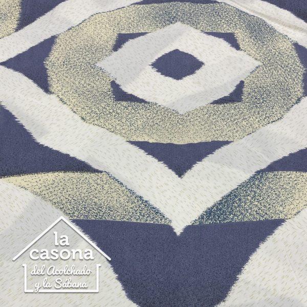 enfoque tela polialgodon con diseños azules y beige