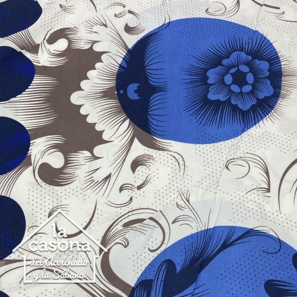 enfoque tela polialgodon con diseños azules y cafes