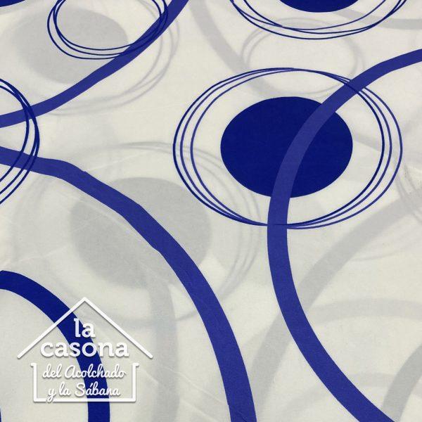 enfoque tela polialgodon con diseños circulares en azul oscuro