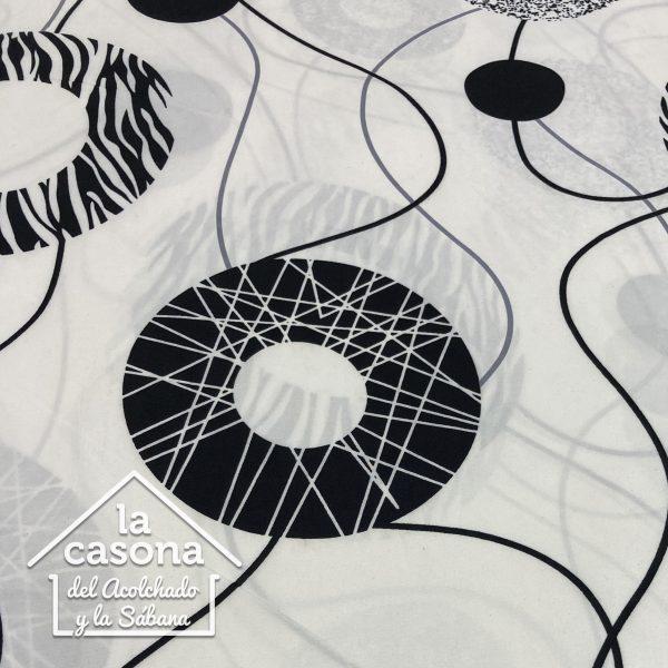 enfoque tela polialgodon con diseños circulares en fondo diverso