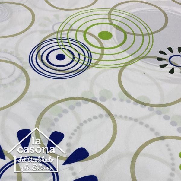 enfoque tela polialgodon con diseños circulares en tonos verdes y toques de azul