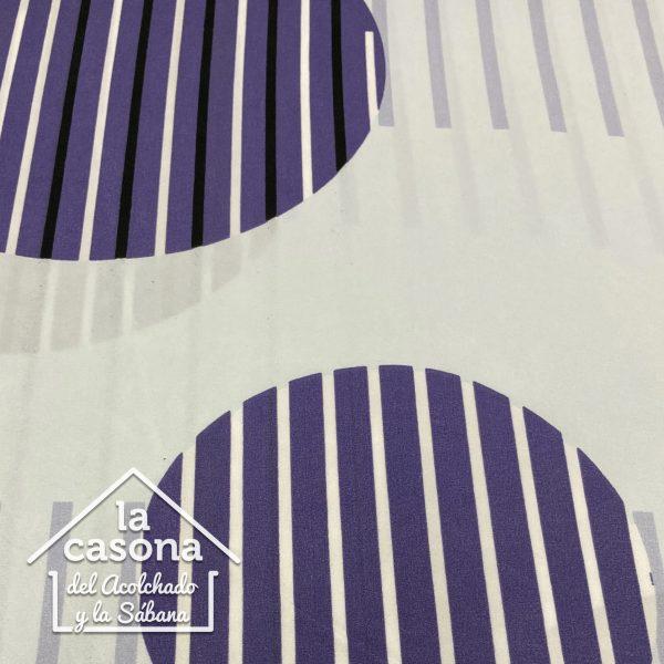 enfoque tela polialgodon con diseños circulares y lineales en tonos morados
