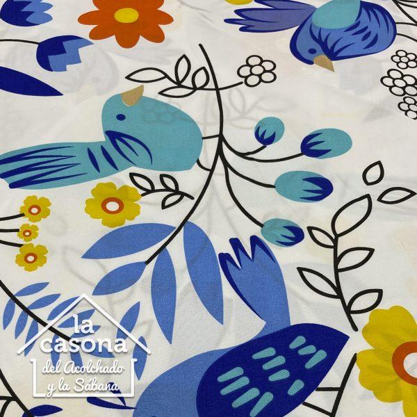 enfoque tela polialgodon con diseños de aves en tonos azules