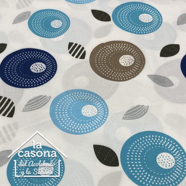 enfoque tela polialgodon con diseños de circulos en tonos azules y oscuros