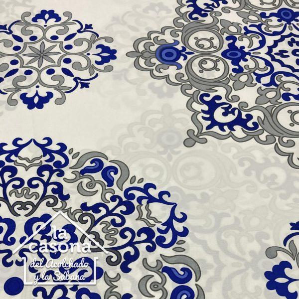 enfoque tela polialgodon con diseños de figuras en gris y azul