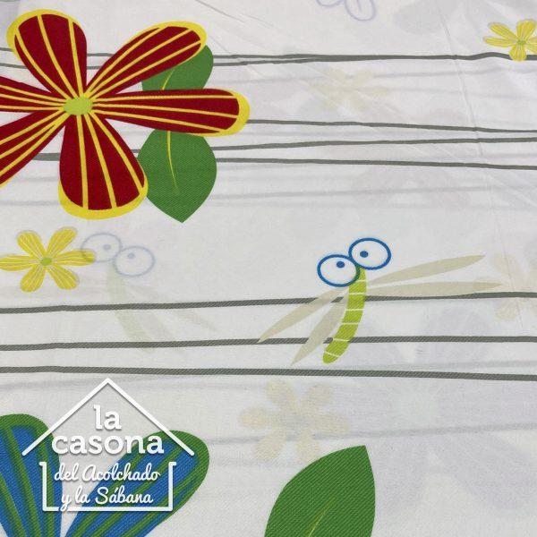 enfoque tela polialgodon con diseños de flores y libelulas