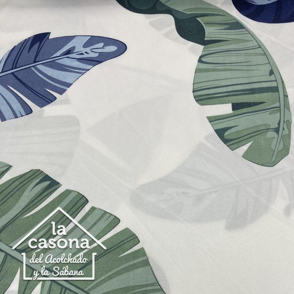 enfoque tela polialgodon con diseños de hojas