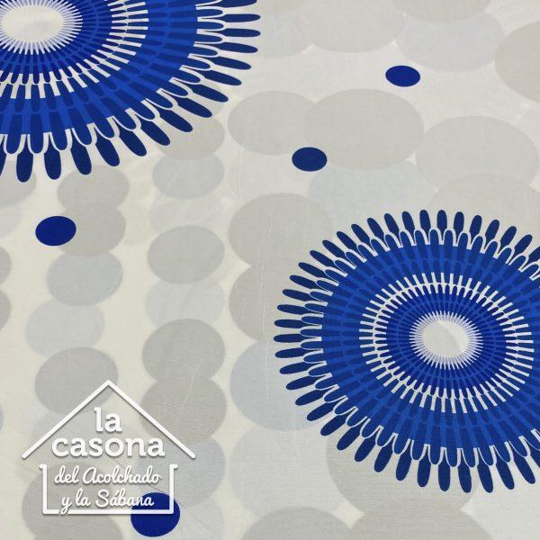 enfoque tela polialgodon con diseños en tono azul de mandalas