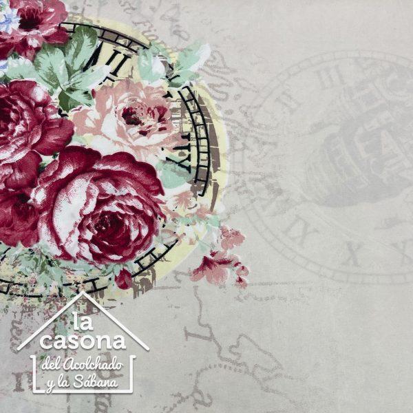 enfoque tela polialgodon con diseños florales