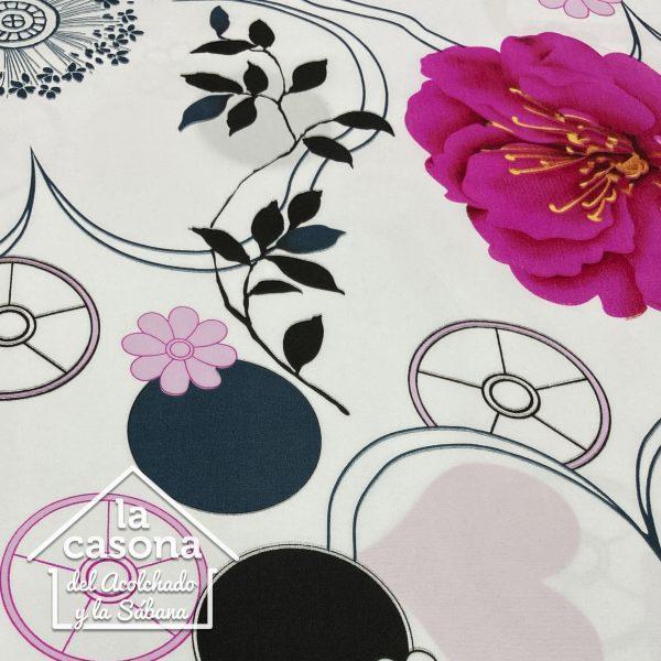 enfoque tela polialgodon con diseños florales en rosa y negro