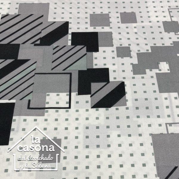 enfoque tela polialgodon con diseños geometricos en blanco y negro