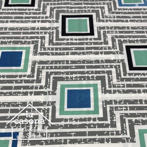 enfoque tela polialgodon con diseños geometricos en tonos azules y verdes
