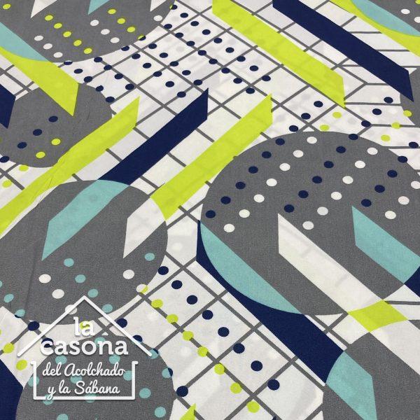 enfoque tela polialgodon con diseños geometricos lineales y circulares en tonos frios