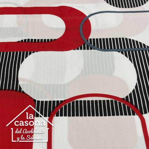 enfoque tela polialgodon con diseños lineales en tonos rojos, negros y blancos