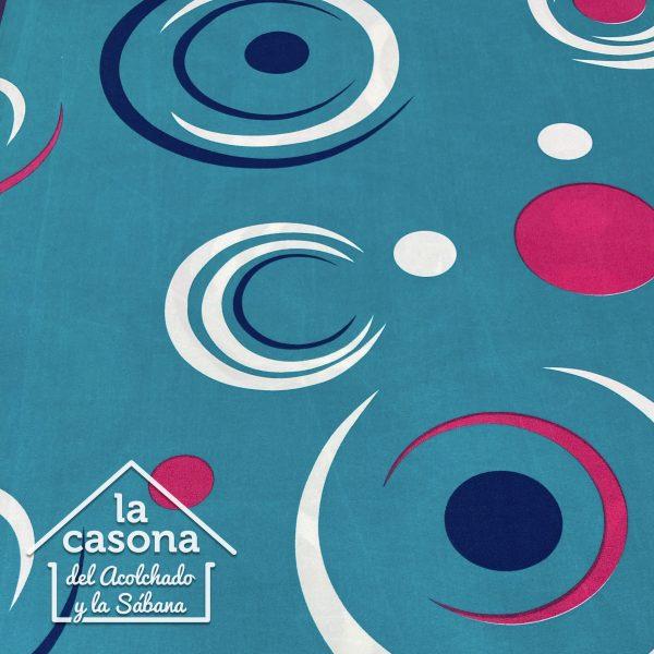 enfoque tela polialgodon con diseños semicirculares en fondo agua marina