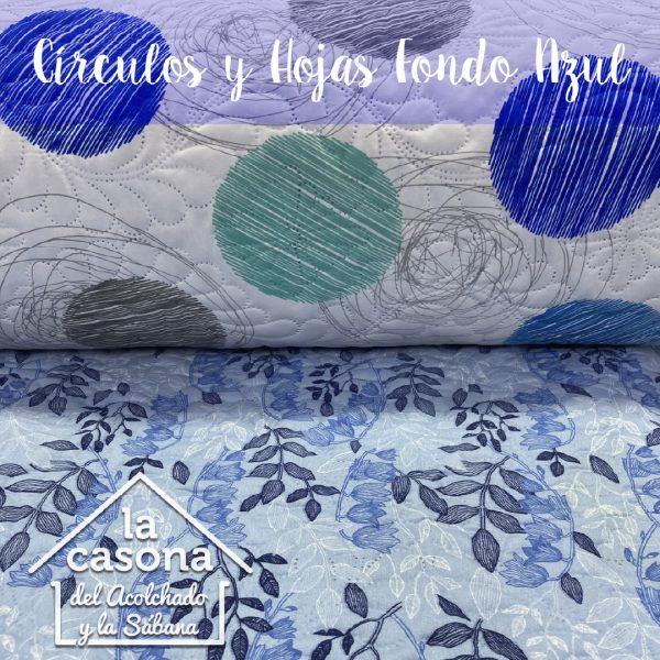 circulos y hojas fondo azul-100
