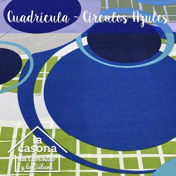 enfoque-tela-polialgodón-con-diseños-de-circulos-y-cuadros-en-azul-y-verde