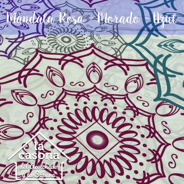 enfoque-tela-polialgodón-con-diseños-de-mandalas-en-color-rosado-morado-gris-y-azul