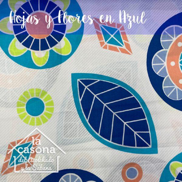 hojas y flores en azul-100